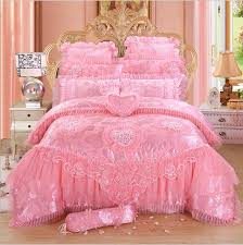 4 6 red pink lace princess bedding set luxury girls wedding bed set quilt cover bed sheets queen king size 2018 new design bedding comforter sets designer