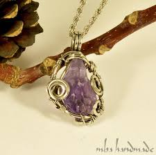 brazilian amethyst crystal point pendant antiqued german silver wire wrapped necklace raw rough natural gemstone artisan vintage jewelry