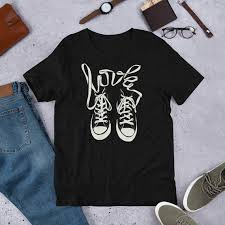 Converse Shirt Size Chart Retro Converse Style Hi Tops Design With Laces Spelling Love Vintage Tennis Shoes Sneakers High Tops Short Sleeve Unisex T Shirt