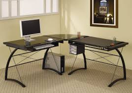 black glass top and metal base modern office desk
