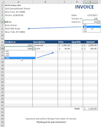 examples of billing invoices automated invoice in excel easy excel tutorial