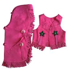 children s suede leather western chaps and vest set pink large com