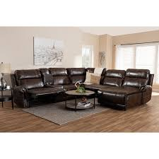 dacio modern and contemporary brown faux leather upholstered 6 piece sectional recliner sofa with 2
