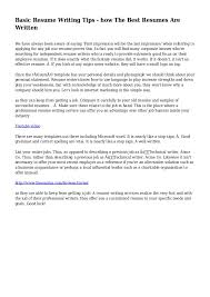 Basic Resume Writing Tips How The Best Resumes Are Written