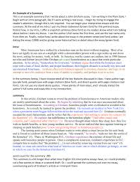Example Summary Essay An Example Of A Summary This Is An Example Summary That I Wrote