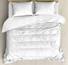 map king size duvet cover set simplistic design world map outline with thin black line drawing abstract continents decorative 3 piece bedding set with 2