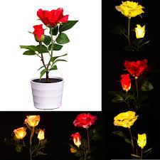 Flower Lights For Bedroom Rose Flower Table Lamp W 3 Led Floral Garden Outdoor Lawn