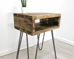 Reclaimed wood furniture etsy Hairpin Legs Retro Side Table Etsy Reclaimed Wood Furniture Etsy