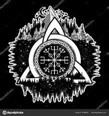 Keltské Trinity Knot Helm Of Awe Aegishjalmur Tetování Stock