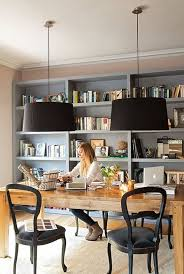home office library furniture. Home Office Library Ideas-28-1 Kindesign Love The Warm Color Of Natural Wood Desk Contrasted Against Black Chairs, Light Grey Shelves And Furniture