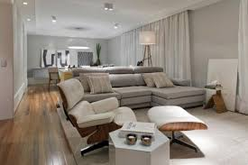 grey wall color feats with brown laminate floor mixed charming modern apartment decor