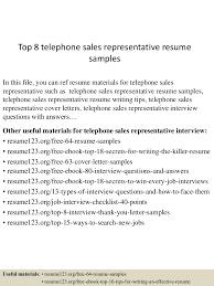 Telephone Sales Representative Resume Samples Top 8 Telephone Sales Representative Resume Samples
