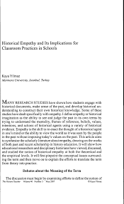 historical empathy and its implications for classroom practices in  historical empathy and its implications for classroom practices in schools pdf available