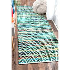 green runner rug handmade chevron cotton hunter