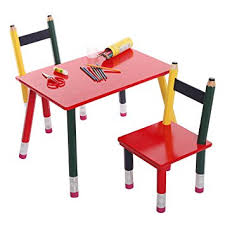 kids at classroom table. multicolored wood pencil design decorative childrens room furniture / classroom kids table \u0026 2 chairs set at
