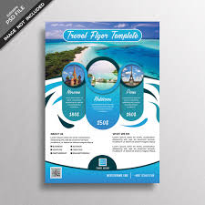 Blue Abstract Travel Flyer Design Template Psd File