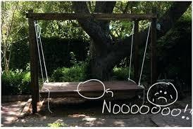 backyard swing ideas uneven stain job on a hanging bed backyard swing diy