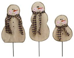 3 piece primitive holiday country wooden snowmen on post set rustic outdoor holiday decorations by furniture barn usa