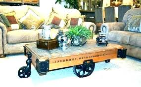 cart coffee table railroad antique hardware factory wheels