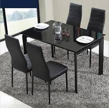 table 4 chairs. panana black / clear white dining table and 4 chairs set glass l
