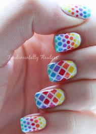 Fundamentally Flawless: Rainbow Diamonds and Dots Nail Art with ...