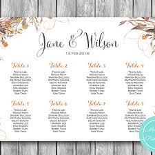 Custom Wild Vintage Fall Floral Wedding Seating Chart Printable