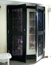 exterior screen doors home security screen doors wrought iron storm with glass and lo wrought iron