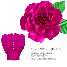 Paper Flower Video Petal 127 Rose Paper Flower Template Stencil To Create Giant Paper Flowers