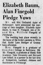 Elizabeth Baum marries Alan Finegold - Newspapers.com