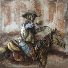 on cowboy metal wall art with cowboy horse side 3d metal wall art hand painted