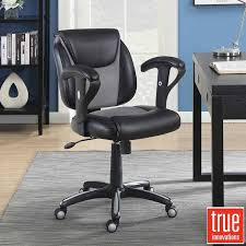 true innovations black bonded leather task chair