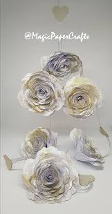 White Paper Flower Garland White Flower Garland White Paper Roses Garland With Gold Glitter