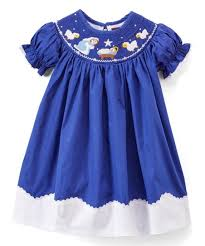 Lil Cactus Royal Blue Nativity Smocked Shift Dress Bow Headband Infant