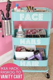 DIY Rolling Vanity Cart. Turn the Ikea Raskog into a rolling makeup storage  unit in