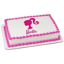 Barbie Silhouette 75 Round Sheet Image Cake Topper Edible Birthday