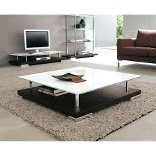Coffee Table Sofa And End Tables With Solid White Glass Square Table Top  Also Wooden Table Base   Square Glass Coffee Table For Family Room