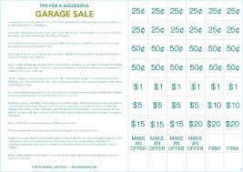 Yard Sale Pricing Chart Garage Sale Tags Nbridge Club
