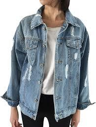 Designer Jean Jacket Judybridal Oversize Denim Jacket For Women Ripped Jean Jacket Boyfriend Long Sleeve Coat