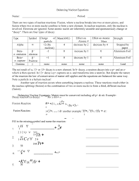 worksheet balancing nuclear equations kidz activities worksheet doc radiation science and engineering center answers