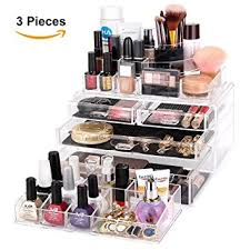 MelodySusie Large Acrylic Makeup Organizer - A Set of 3 Pieces Transparent  Modern Jewelry and Cosmetic