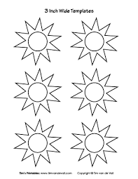 Sun Template Printable 3 Inch Sun Templates Tims Printables