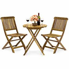 details about acacia wood outdoor bistro set 3pc round table 2folding chairs patio furniture
