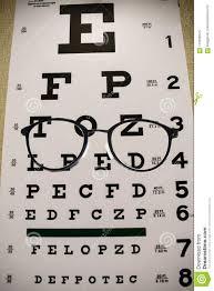 Eyeglasses On Reading Exam Chart Stock Image Image Of