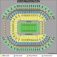 University Of Phoenix Stadium Glendale Az Seating Chart Arizona Cardinals Stadium Seating Chart