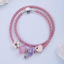 silver charm pandora bracelet pink braided rope leather bracelets snake chain bangle fit european bead for women fashion jewelry