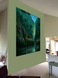tropical tryptich paintings for living room wall