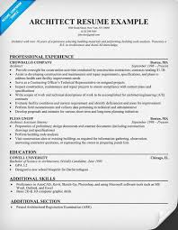 Gallery Of Architect Resume Samples Architectural Resume Examples