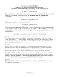 Membership Dues Template Club Constitution Template