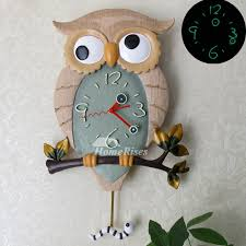 funny wall clocks owl pendulum luminous