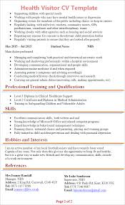 Nhs Resume Examples Cv Template Nhs Health Visitor Resume Tips Cv Template